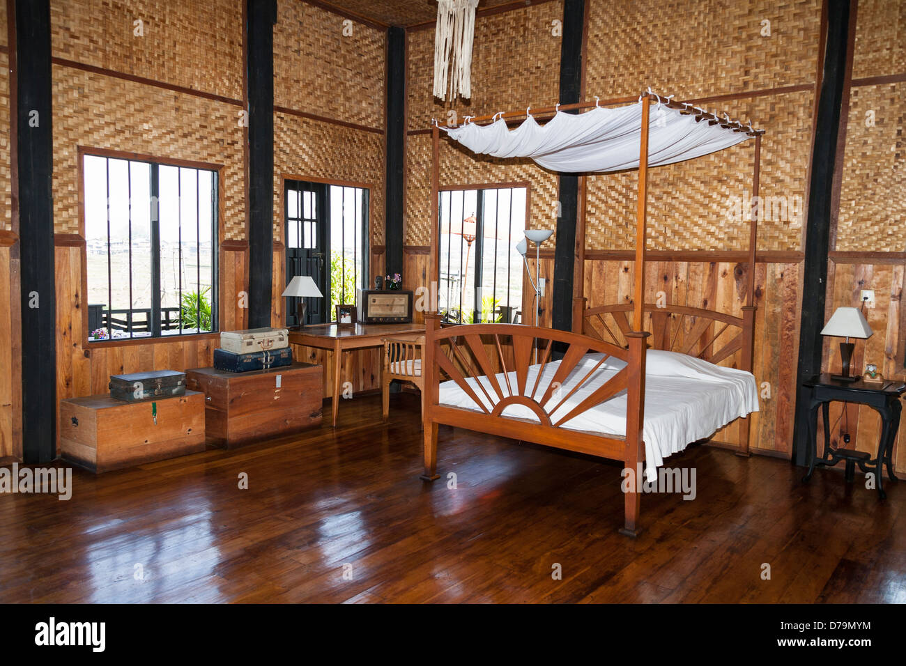 Lovely Bedroom Inside The Inthar Heritage House, Inpawkhon Village, Inle Lake,  Shan State, Myanmar, (Burma)