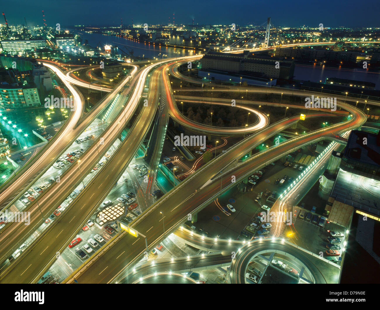 Germany Ludwigshafen Main roads in city at night Stock Photo, Royalty Free Image: 56147742 - Alamy