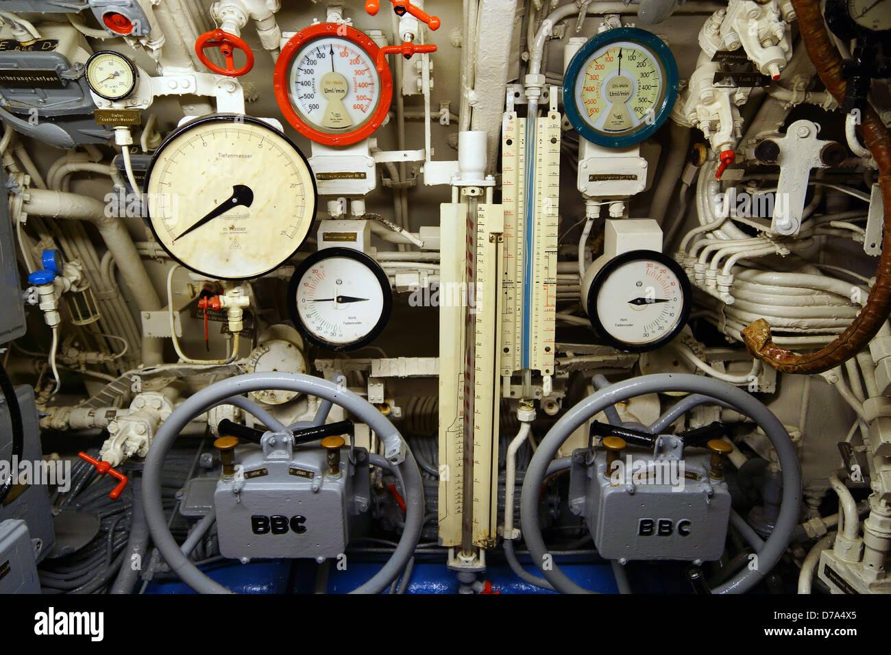 interior of u boat u 995 submarine laboe germany stock. Black Bedroom Furniture Sets. Home Design Ideas