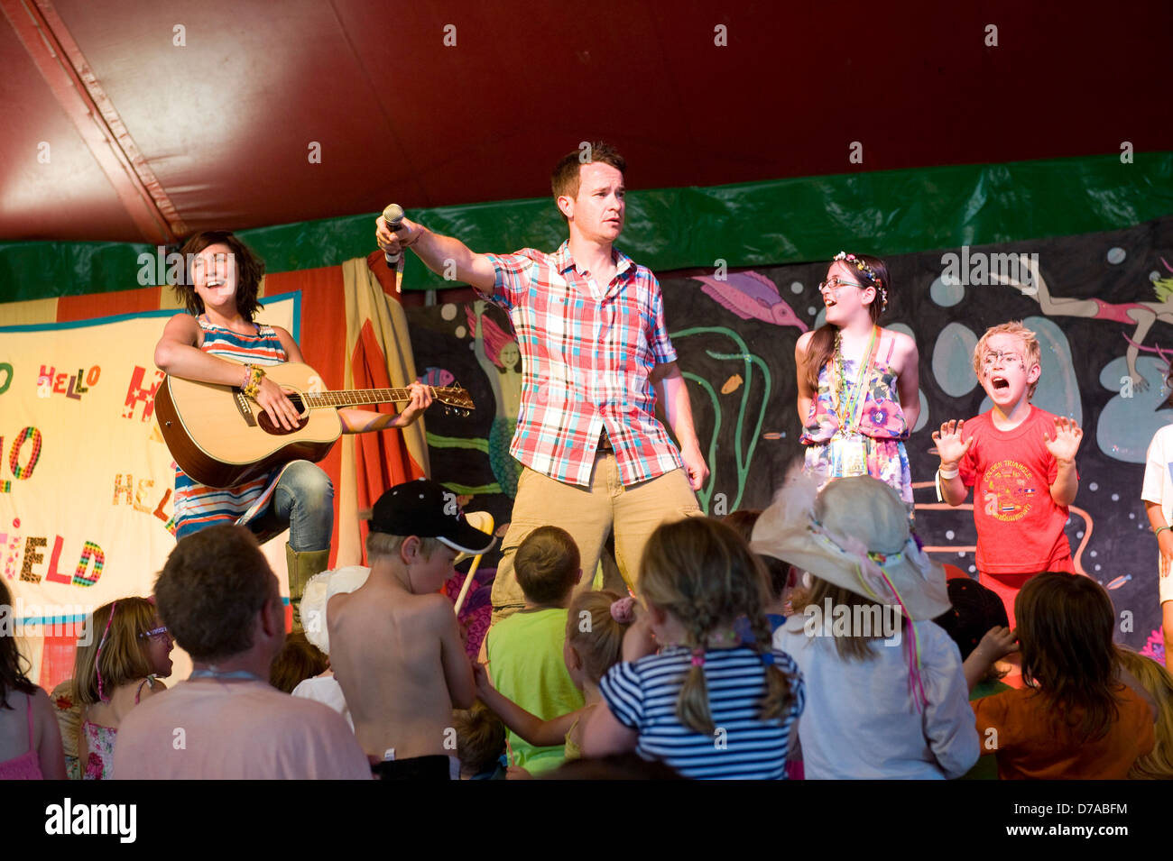 Cbeebies presenters performing in the main tent of the kids field at Glastonbury festival  sc 1 st  Alamy & Cbeebies presenters performing in the main tent of the kids field ...