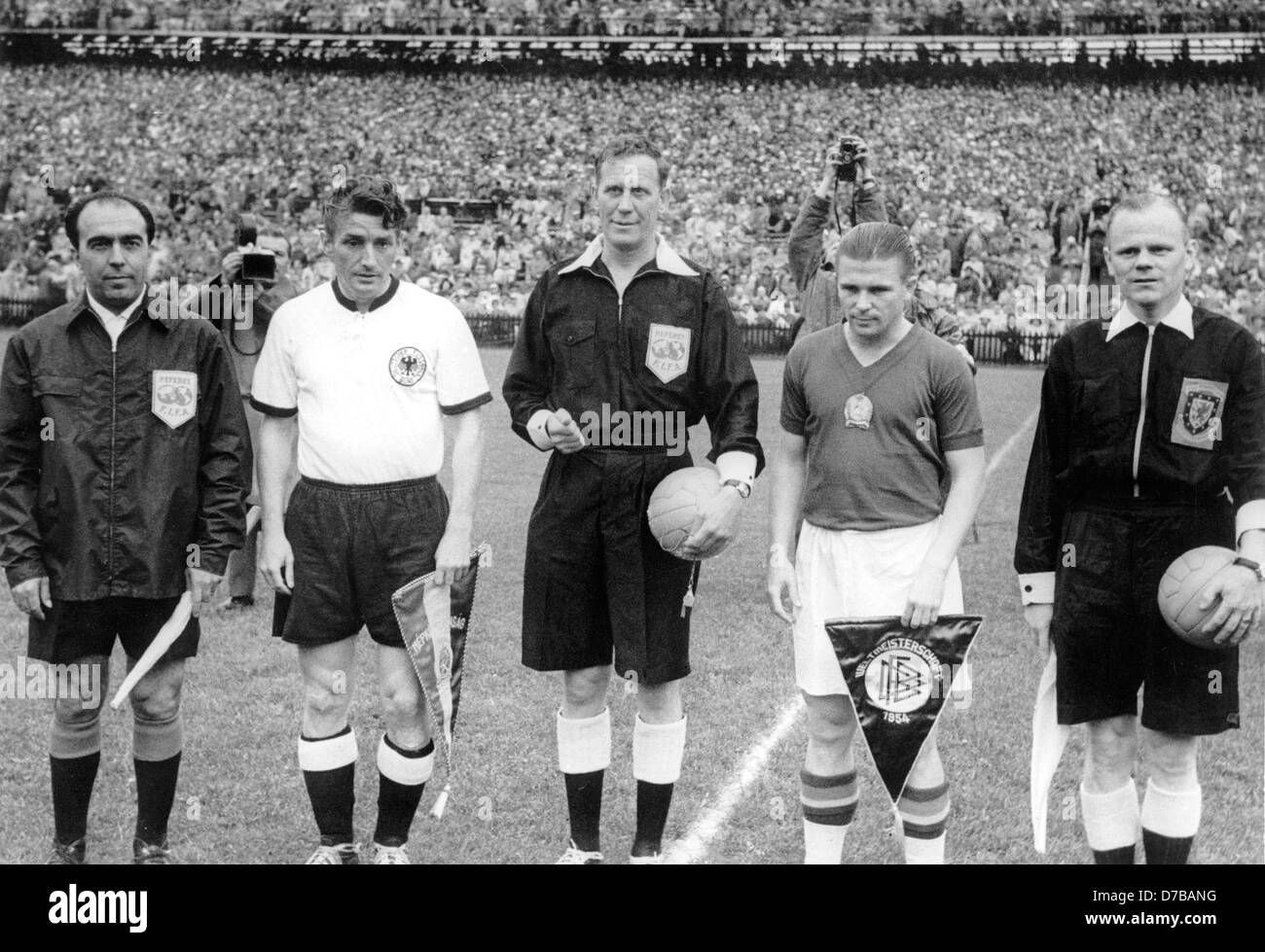 Hungary s team captain Ferenc Puskas 2nd of right and Germany s