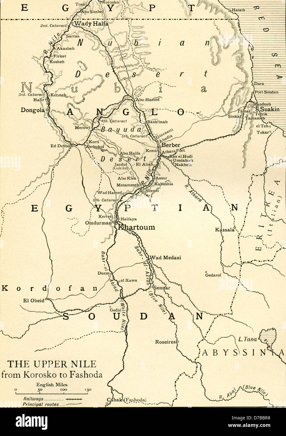 Map of Anglo Egyptian Soudan showing The Upper Nile from Korosko
