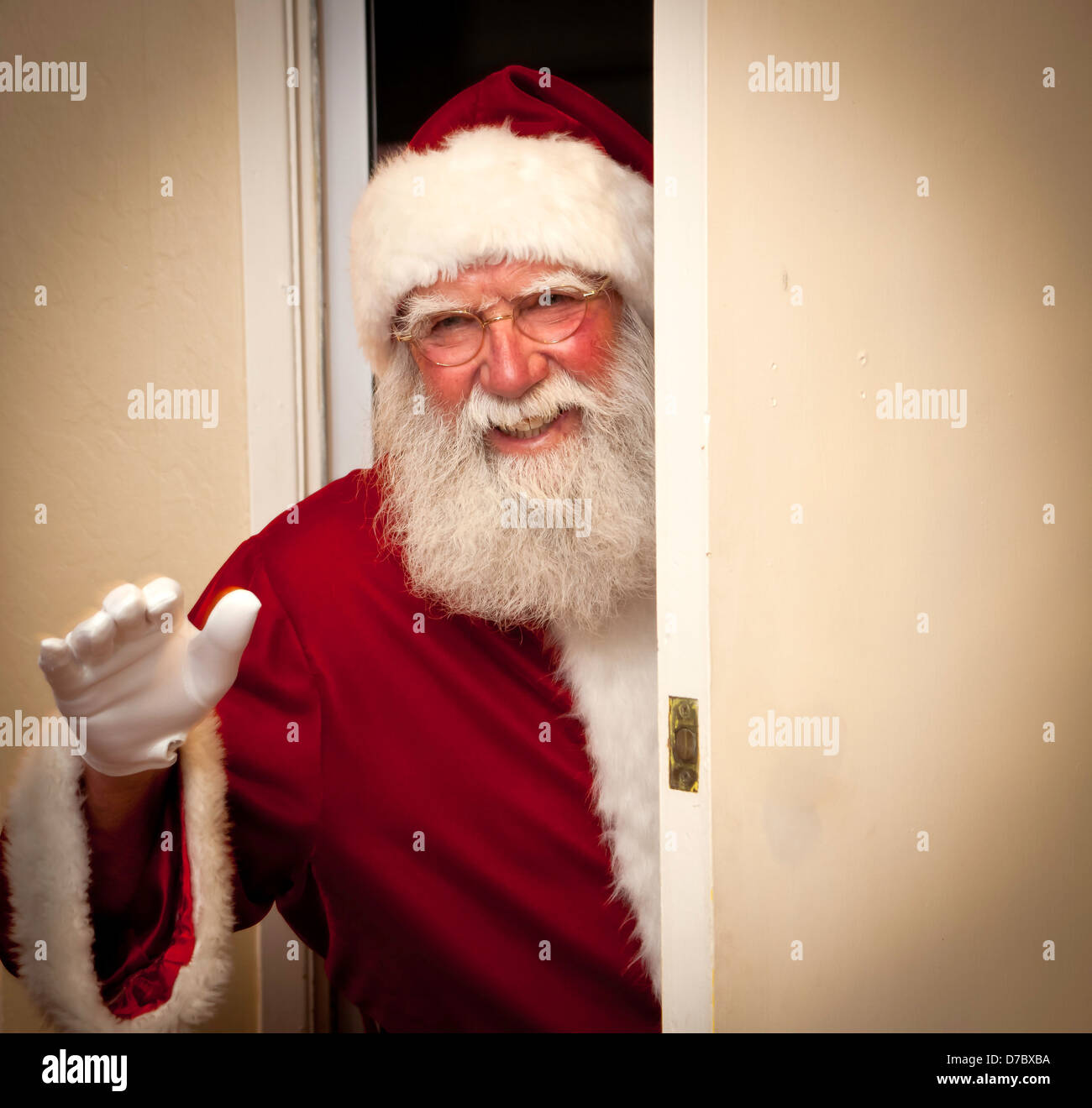 Santa claus waving goodbye or hello stock photo royalty