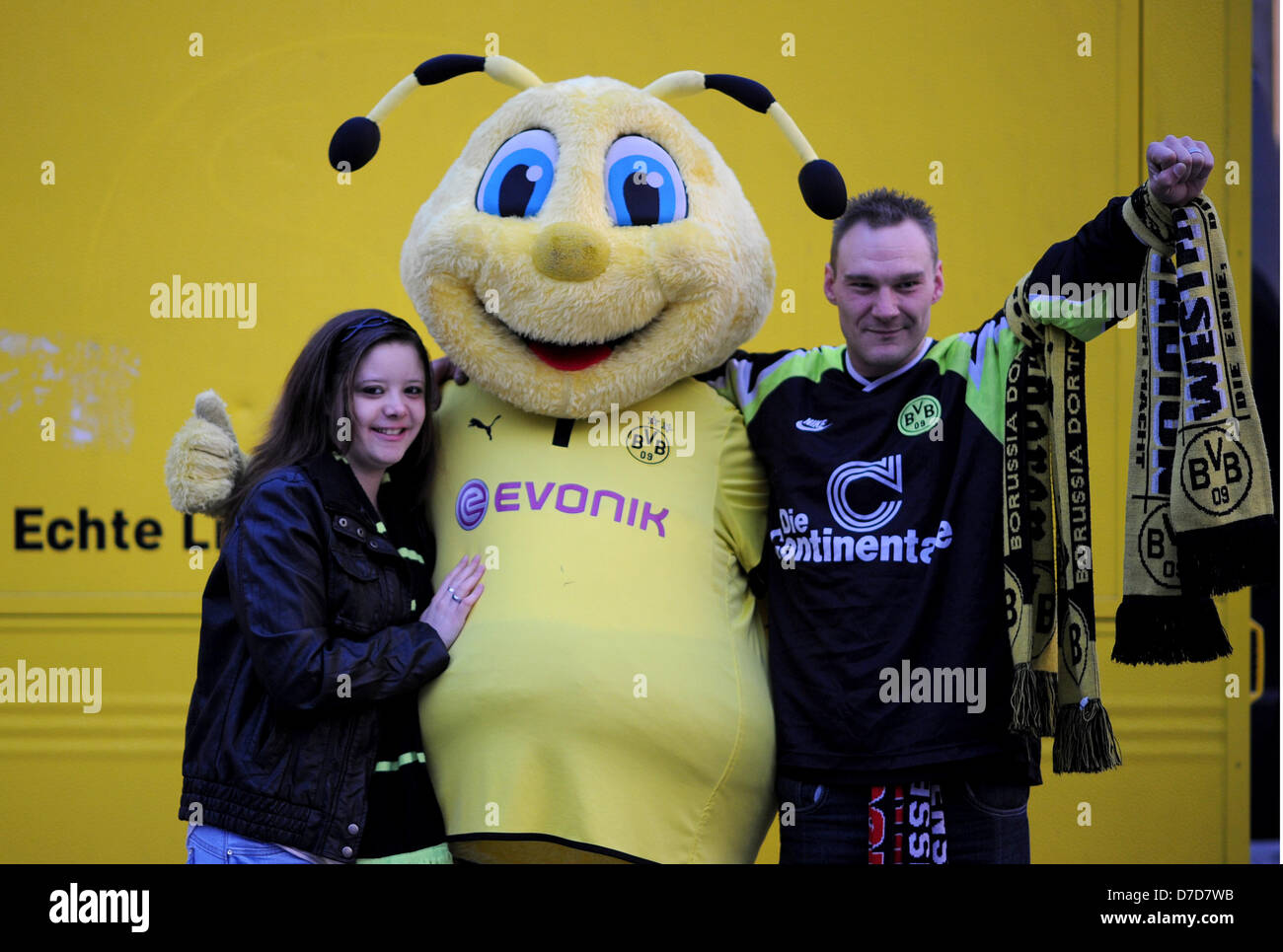 The mascot of Bundesliga soccer club Borussia Dortmund