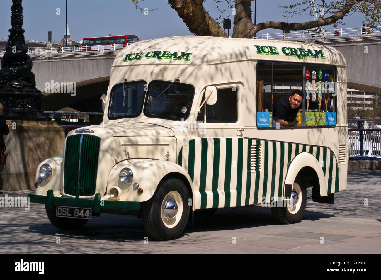 An Ice Cream Van Conversion Of A Morris Commercial 1 Ton Truck South Bank London England