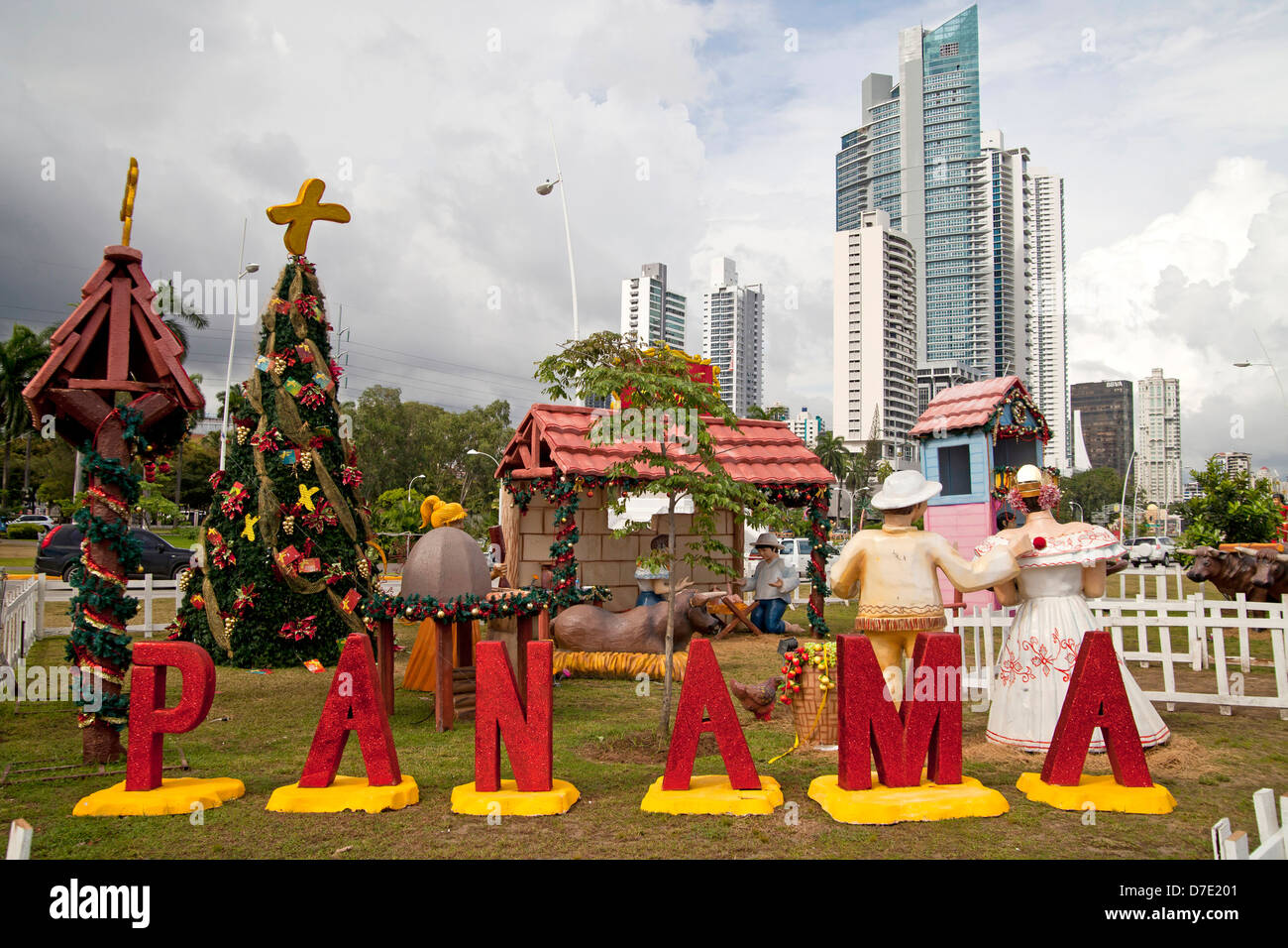 Christmas decoration with a nativity scene and lettering Panama in ...