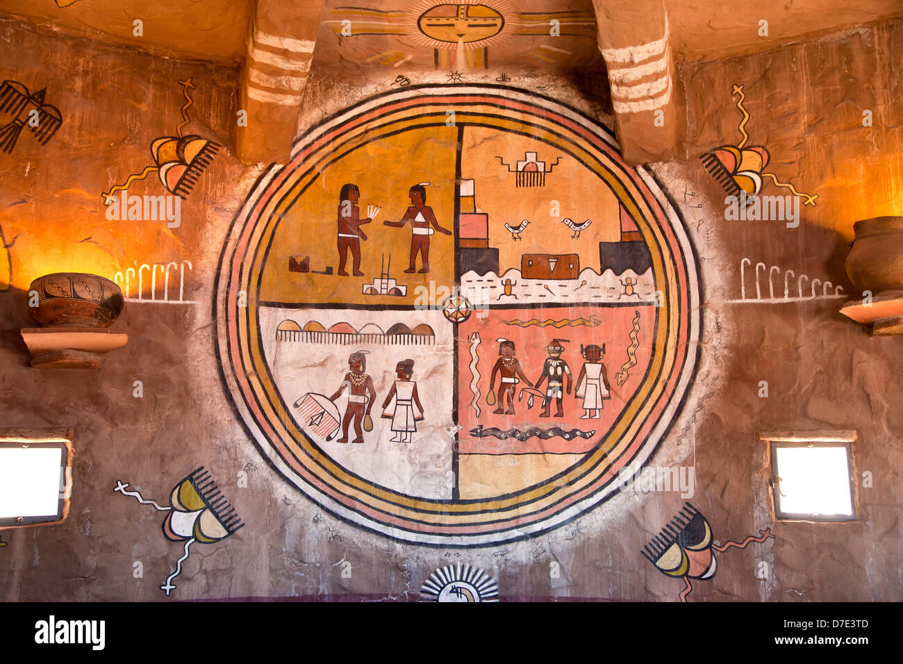 rock art paintings inside the Desert View Watchtower Grand Canyon