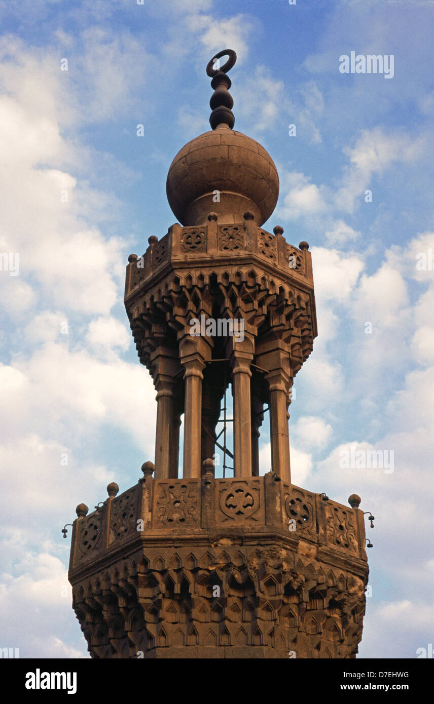 Ottoman Minaret Of Sultan Hassan Mosque Old City Of Cairo Egypt