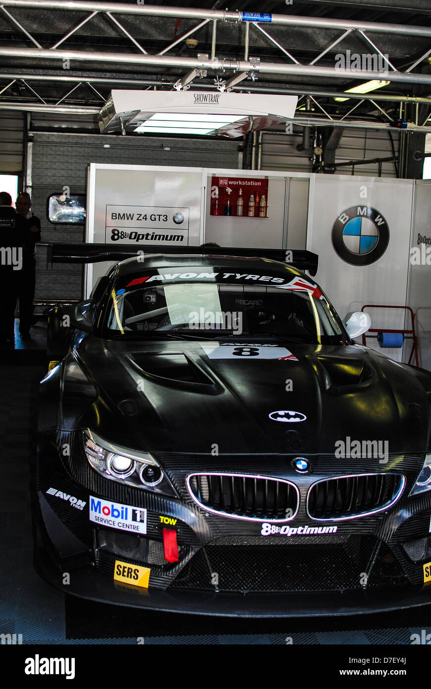 Bmw racing car british gt pit garage stock photo royalty for Garage bmw corbeil essonnes