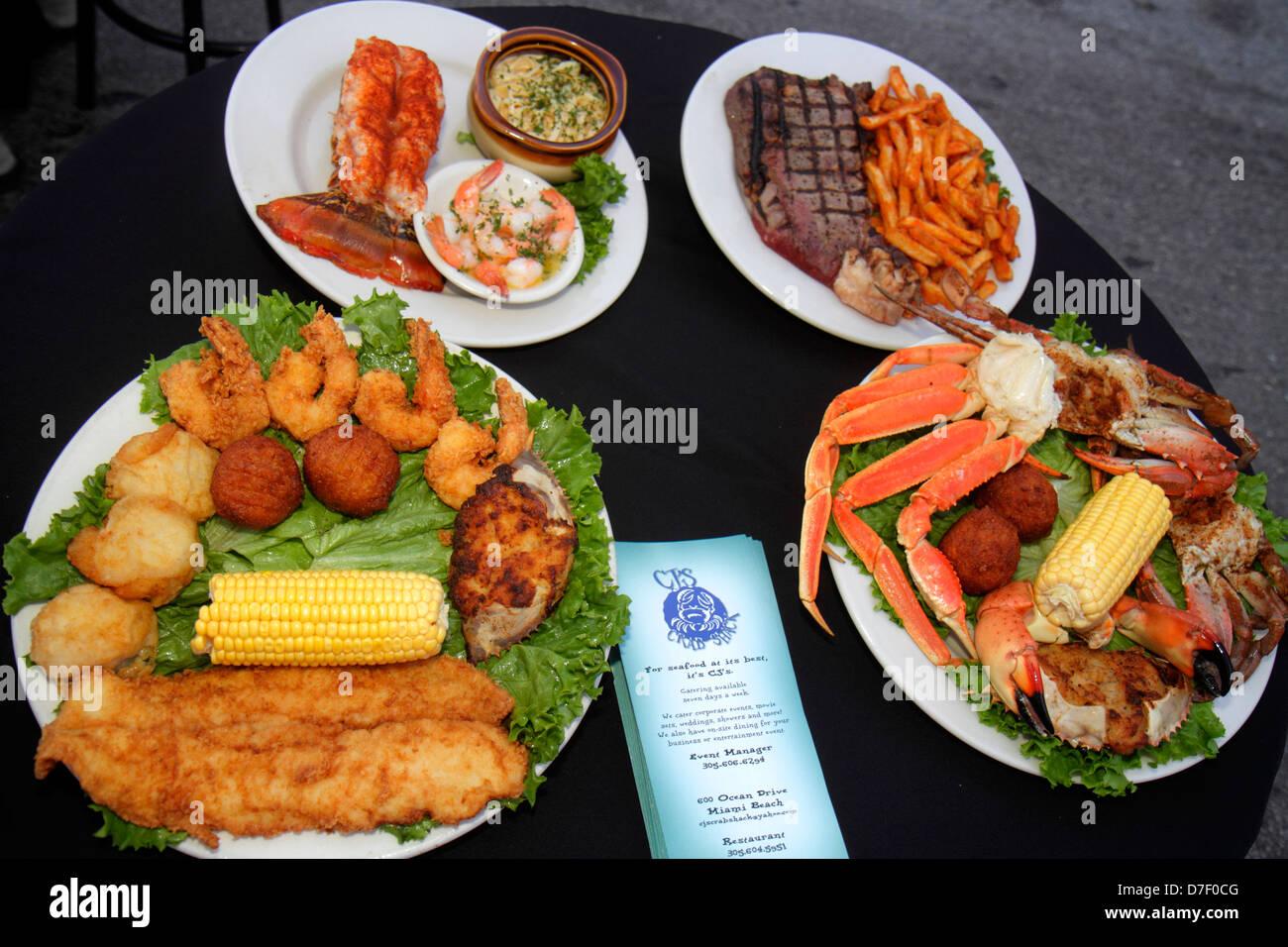 Miami Beach Florida Ocean Drive CJ's restaurant food display plates Stock Photo, Royalty Free ...