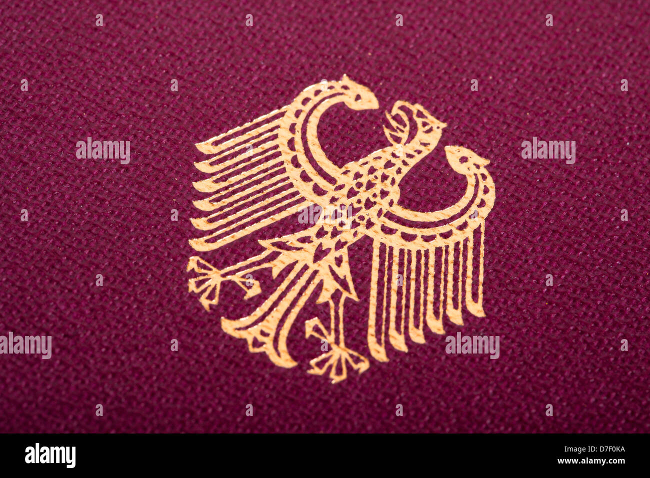 A Macro Shot German Coat Arms Printed On German Passport Cover