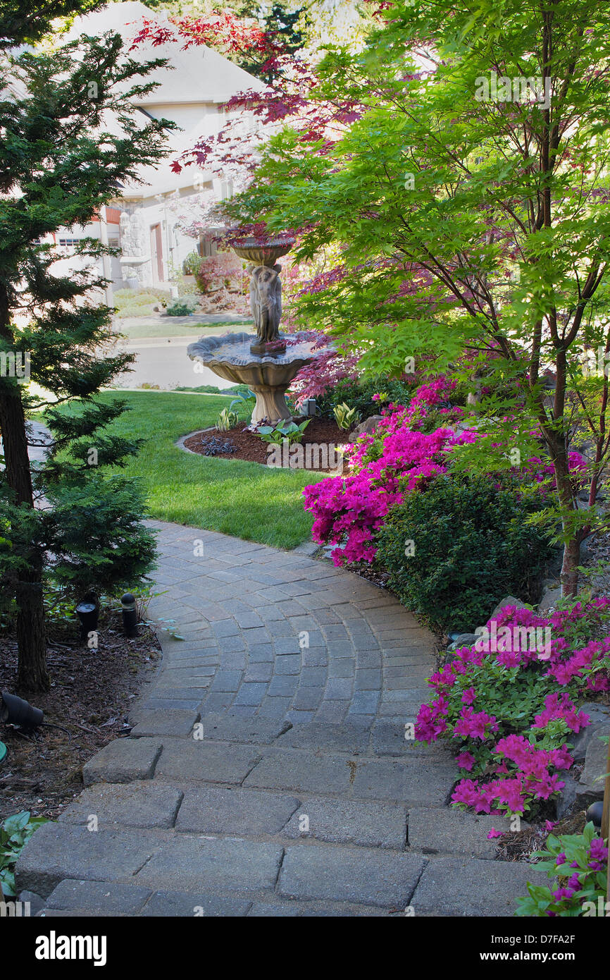 Bricks Pavers Path And Steps To Front Yard Garden And Water Fountain
