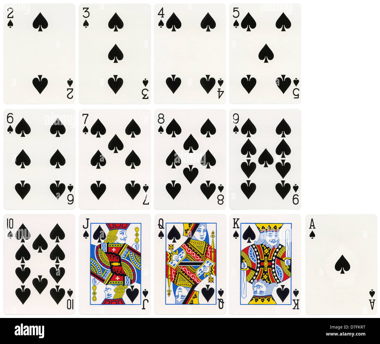 The Complete Set Spades Suit Playing Cards Isolated On White Stock ...