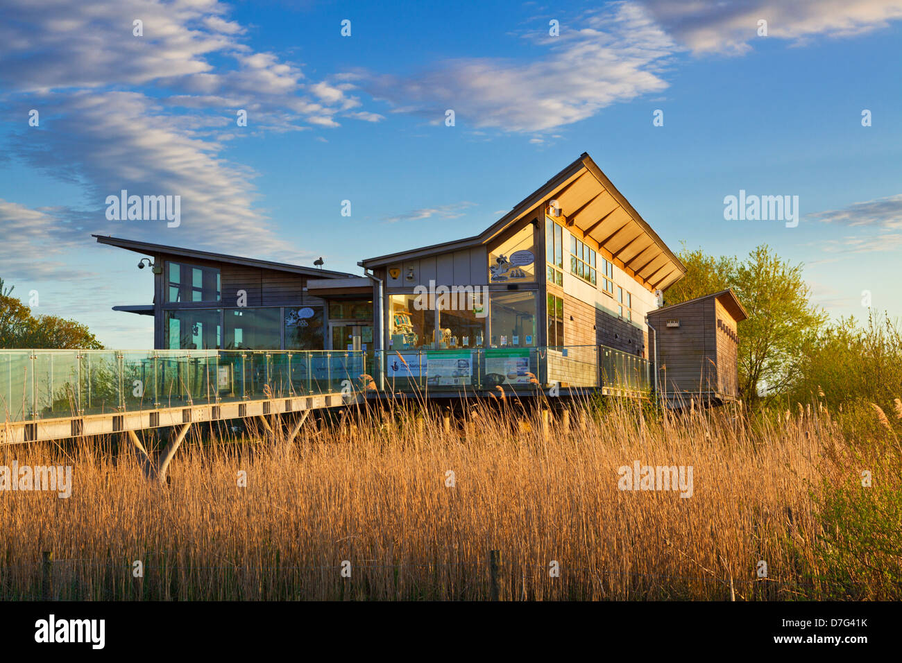 Attenborough Nature centre eco building with swans in the