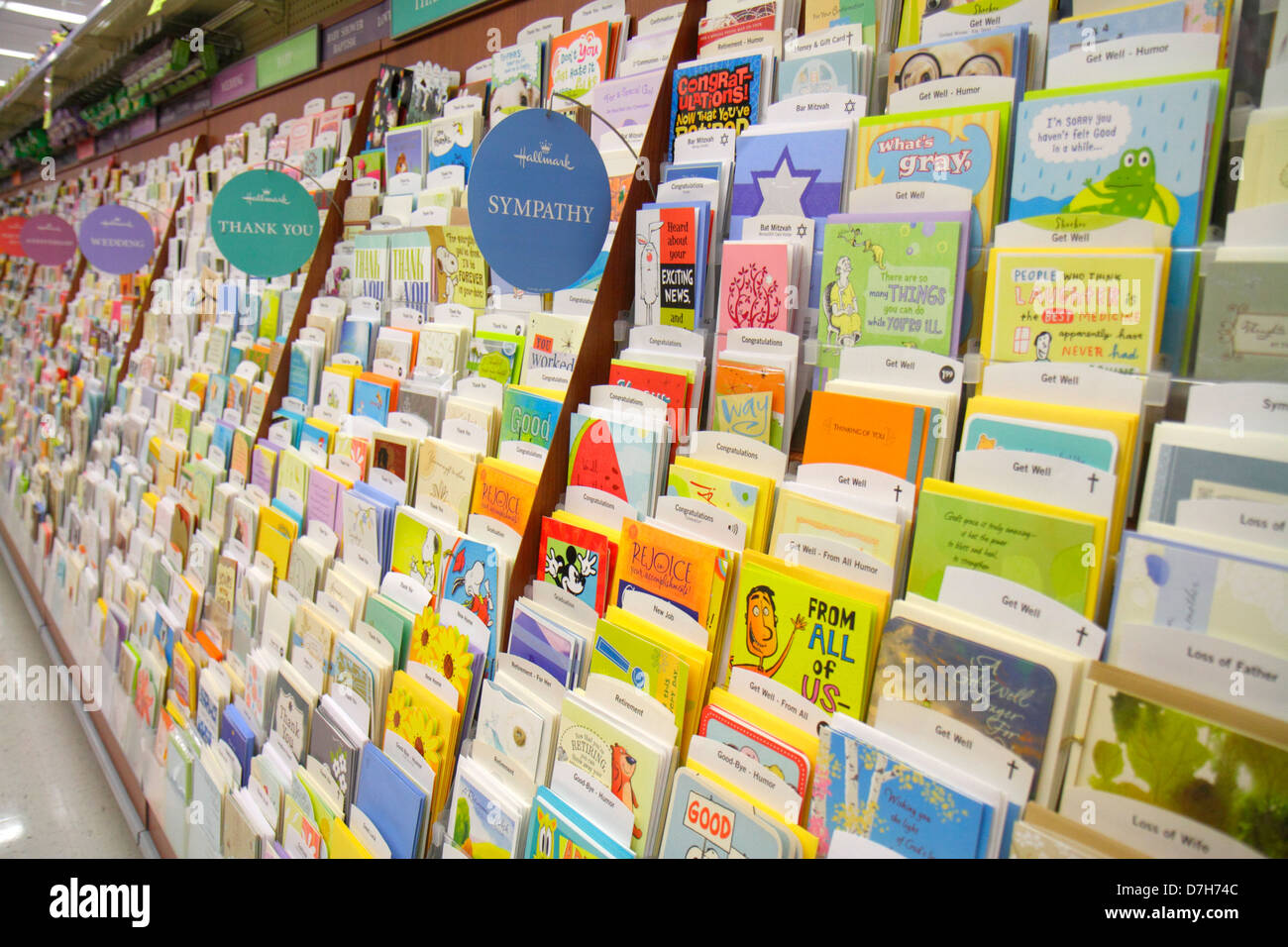 hallmark greeting cards on display at a walgreens flagship store, Birthday card