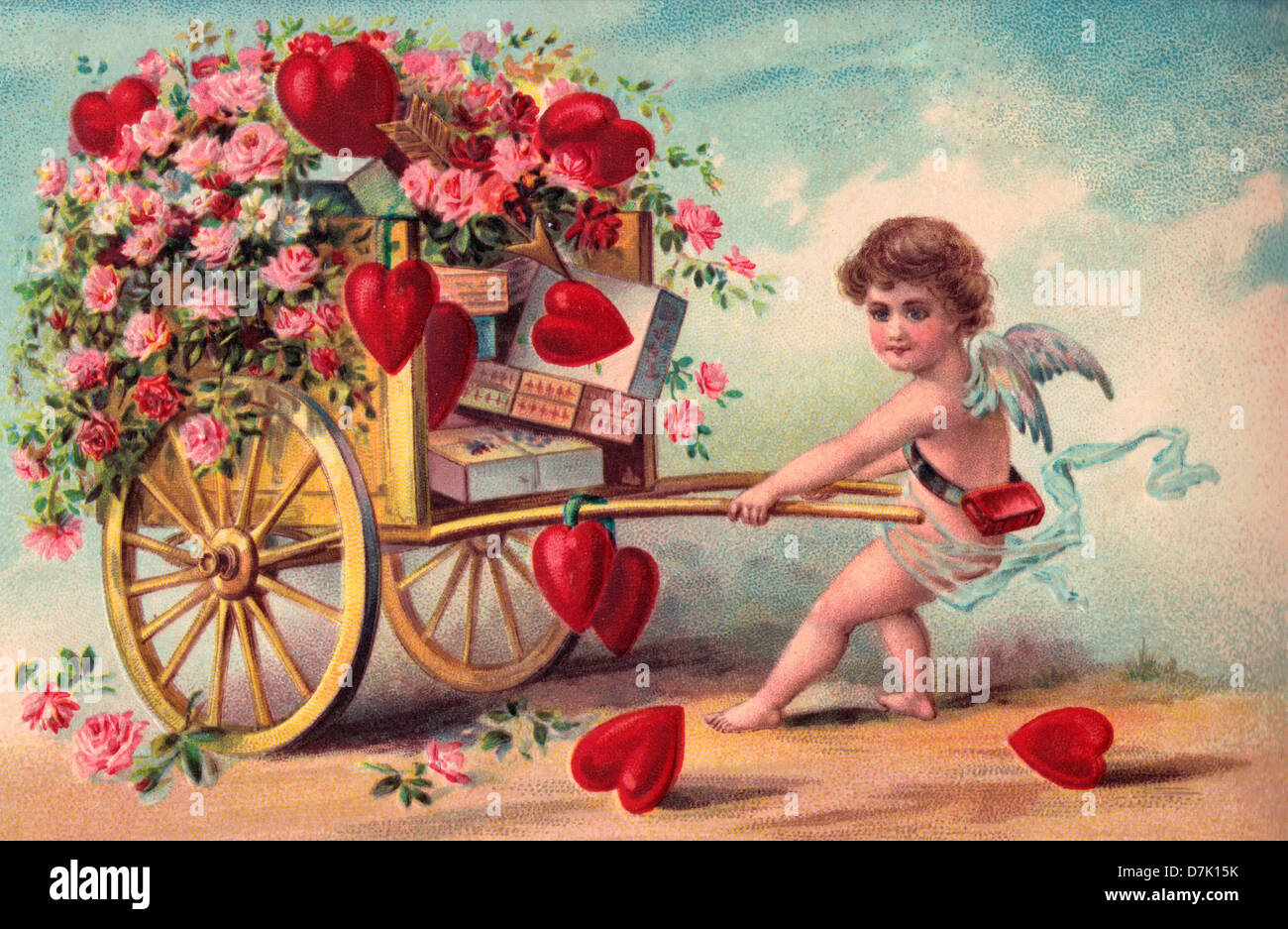 Vintage Valentineu0027s Day Card With Cupid Pulling Cart Of Flowers, Hearts And  Chocolates
