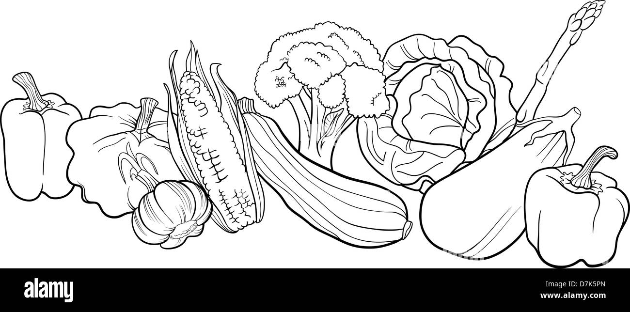 Black and White Cartoon Illustration of Vegetables Food ...