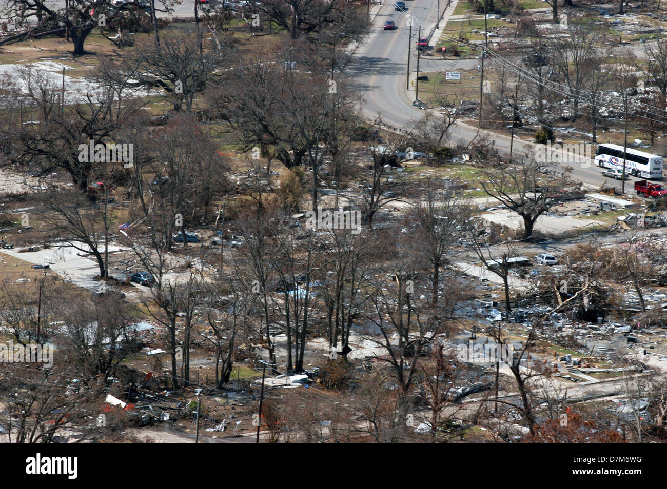 Aerial view of destroyed homes in the aftermath of ...