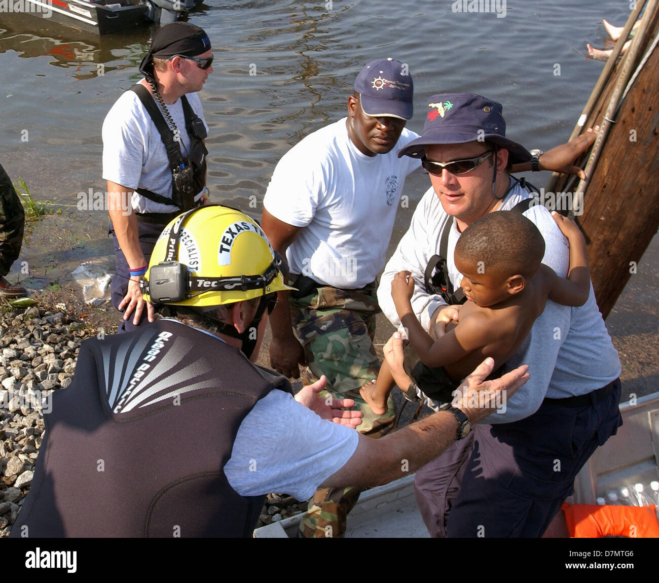 Survivors rescued by urban search and rescue on an airboat in the ...