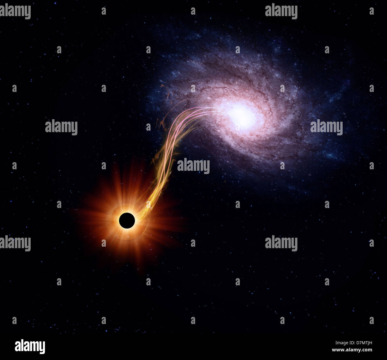 Spiral galaxy and black hole, artwork Stock Photo ...