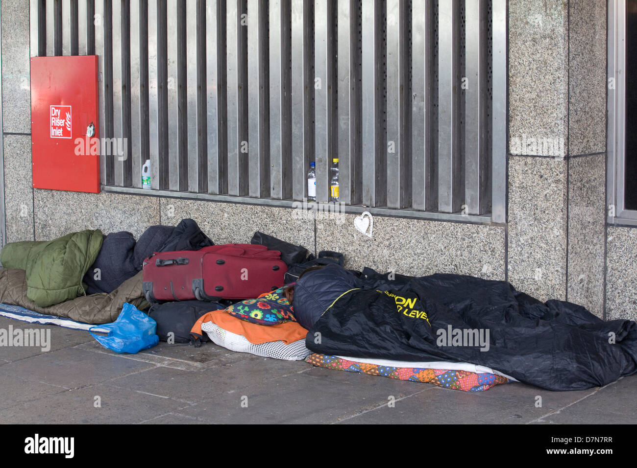 homeless people sleeping on the streets of london england