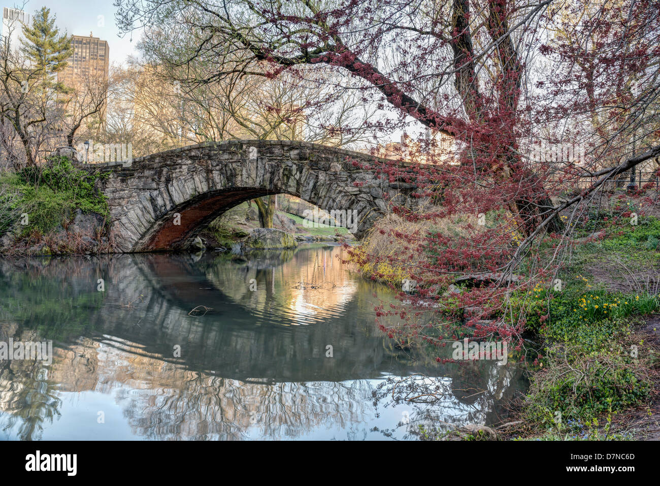 Gapstow bridge in early spring Central Park, New York City Stock ...