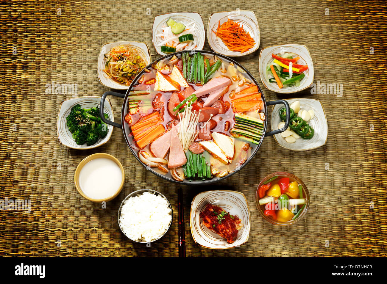 korean seafood hot pot at a korean restaurant mussels and noodles stock photo royalty free. Black Bedroom Furniture Sets. Home Design Ideas