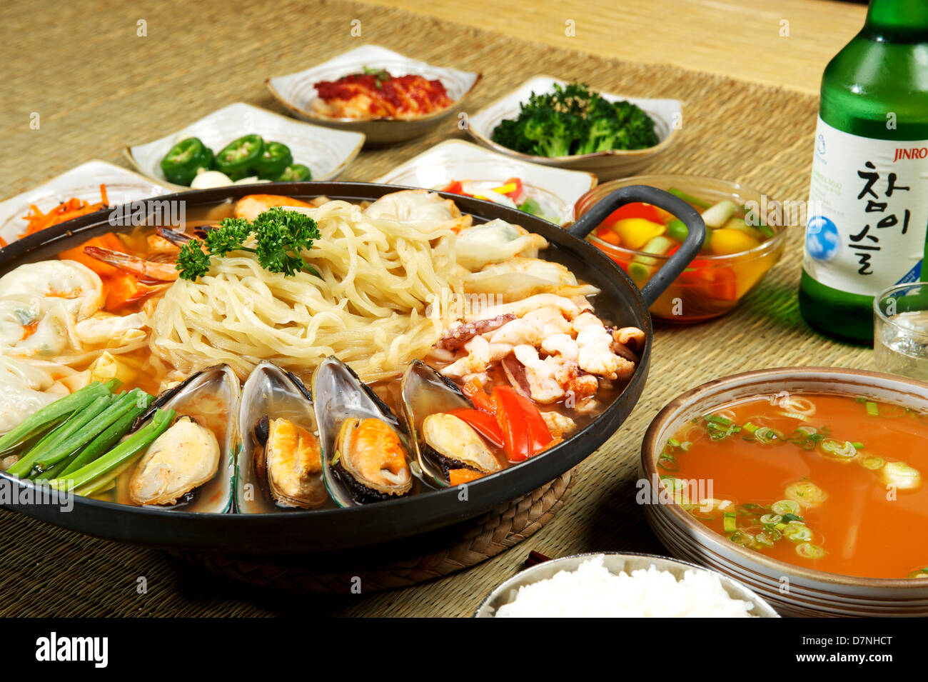 Korean Seafood Hot Pot At A Korean Restaurant Mussels And Noodles Stock Image