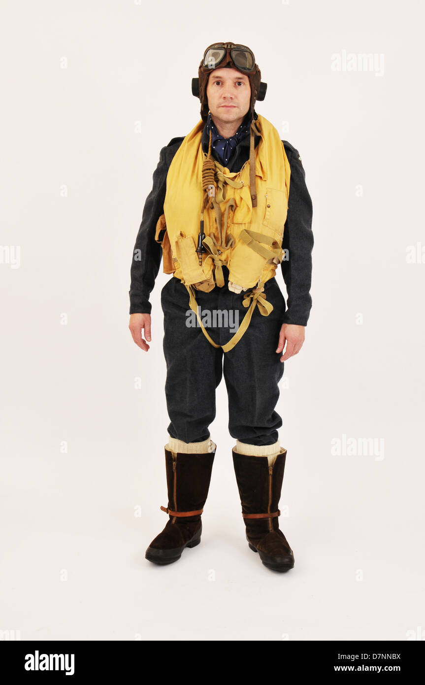 air force jacket stock photos air force jacket stock images ww2 raf pilot crew member wearing flying helmet mae west life jacket