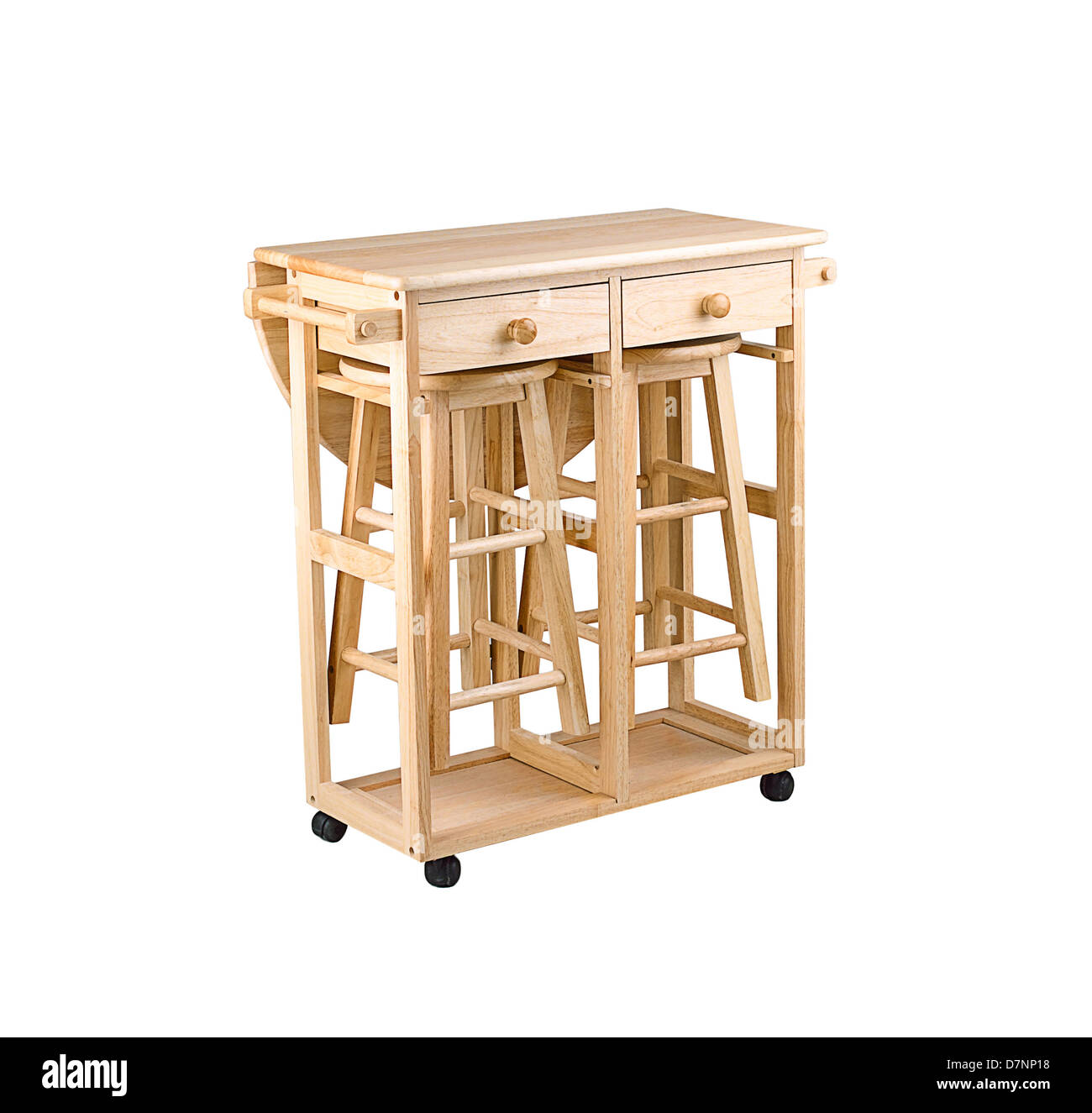 Folding and movable wooden table with drawers for small for Kitchen tables for small areas