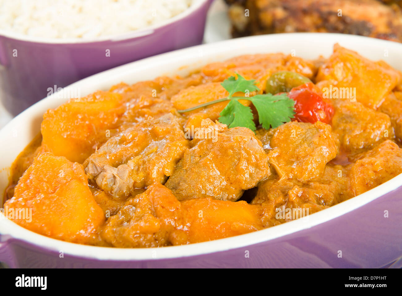 Lamb And Sweet Potato Peanut Stew Served With White Rice Jerk Chicken Caribbean West African Traditional Dishes