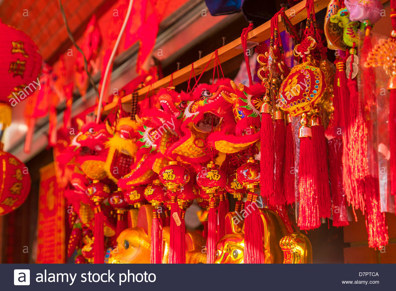 Traditional Chinese decorations a the shop in London's China Town, London,  United Kingdom