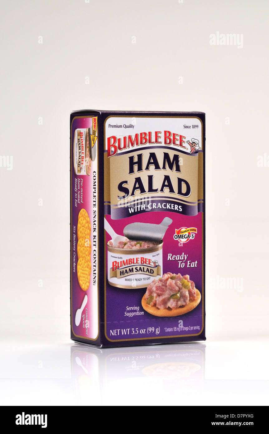 packet of bumble bee ham salad with crackers ready to eat on white