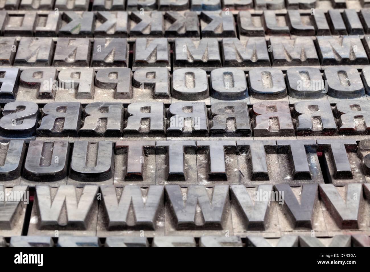 metal printing setting old letters made of lead for letterpress printing