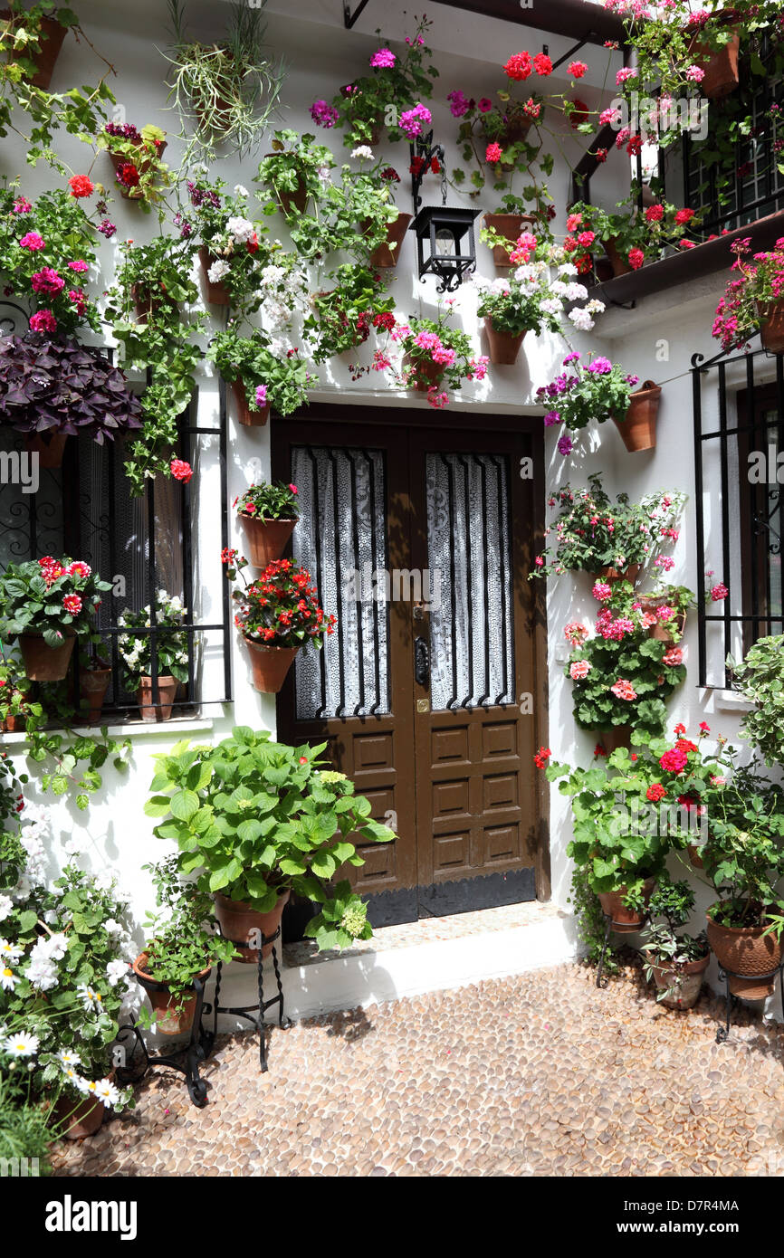 Stock Photo   Typical Inner Courtyard In Cordoba During The Festival Of Los  Patios 2013. Andalusia, Spain