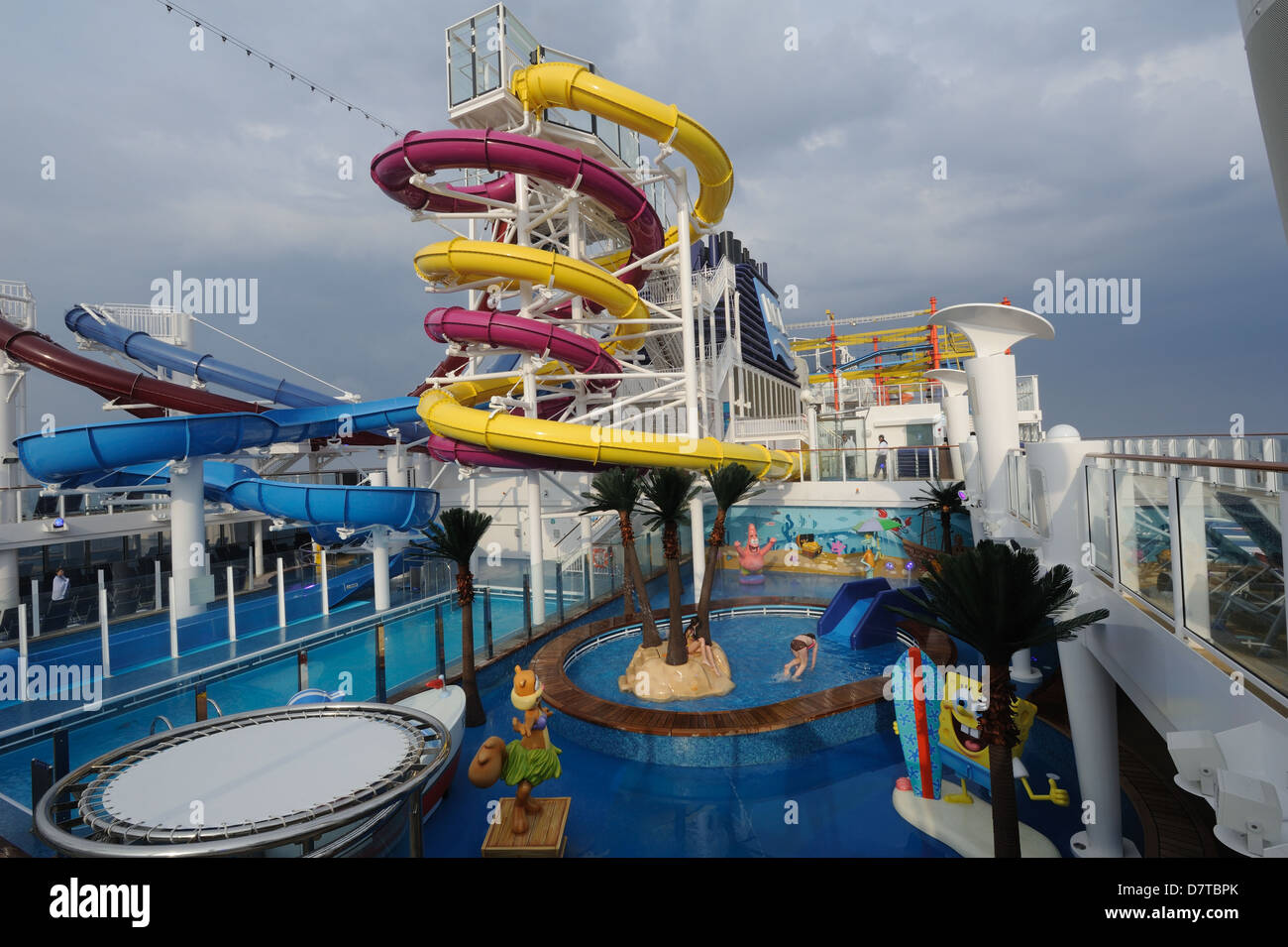 The Aqua Park On Norwegian Breakaway A Passenger Cruise - Roller coaster on a cruise ship