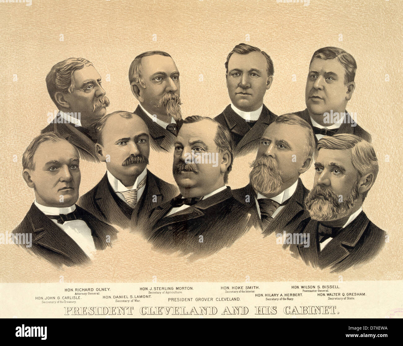 President Cleveland and his cabinet, 1893 Stock Photo, Royalty ...
