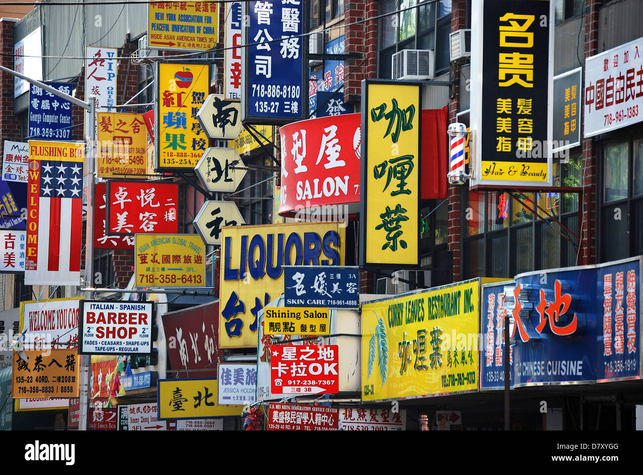 Multitude Of Street Signs In Chinatown Flushing Queens