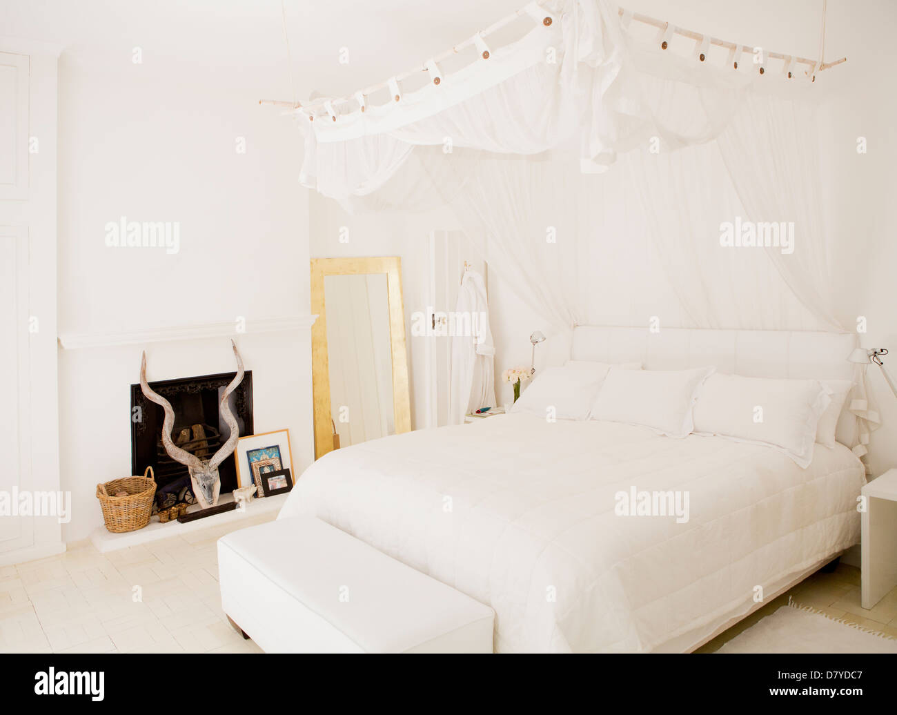 Canopy over bed in modern bedroom & Canopy over bed in modern bedroom Stock Photo Royalty Free Image ...