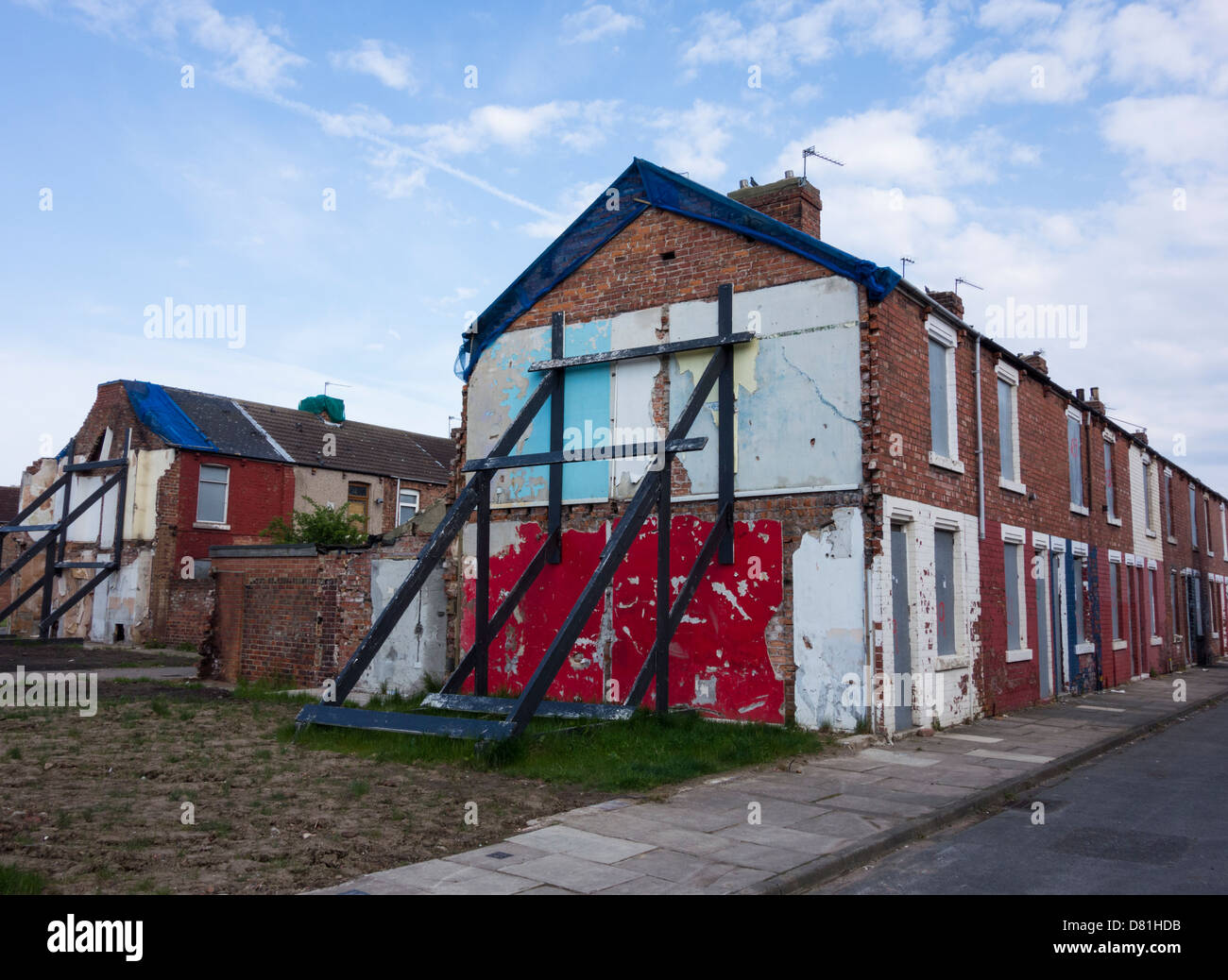 Boarded Up Houses In Middlesbrough Cleveland England Uk