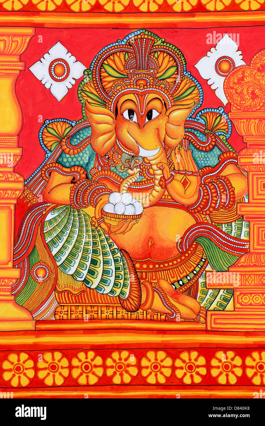 Mural painting of god ganapathi on canvas ganesh sun of for Mural art of ganesha