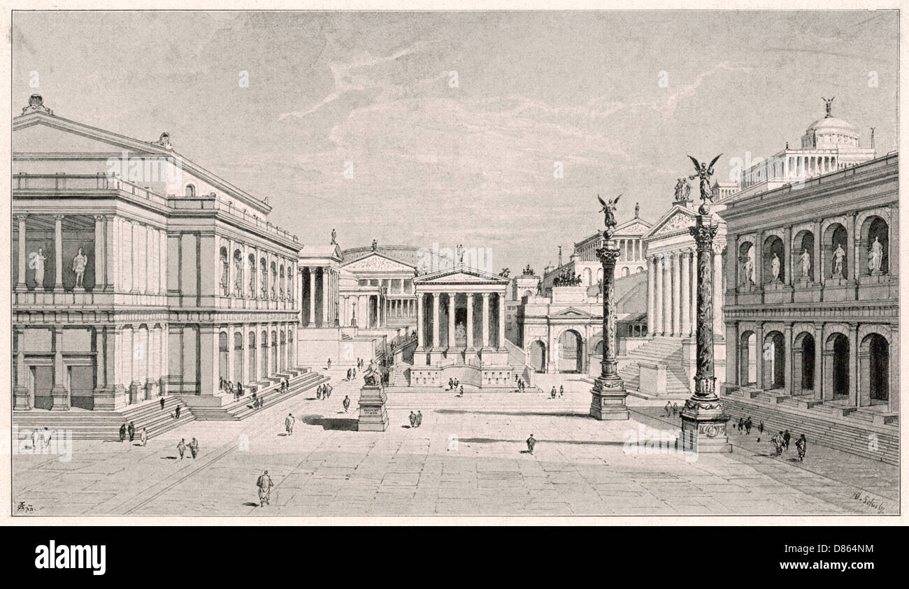 Reconstruction Of The Roman Forum Rome Italy Stock Photo ...