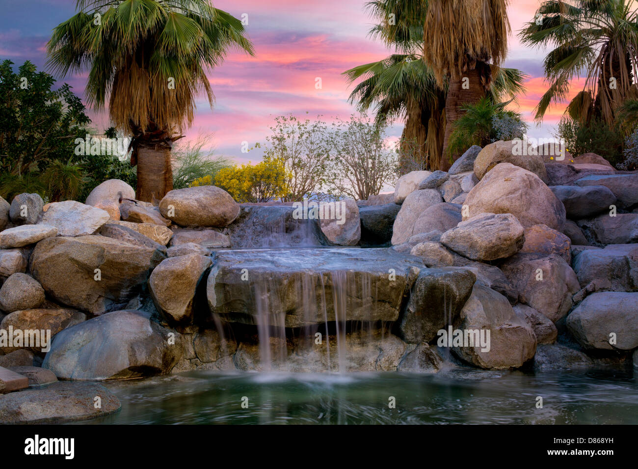 Waterfalls In Faye Sarkowsky Sculpture Garden. Palm Desert, California    Stock Image