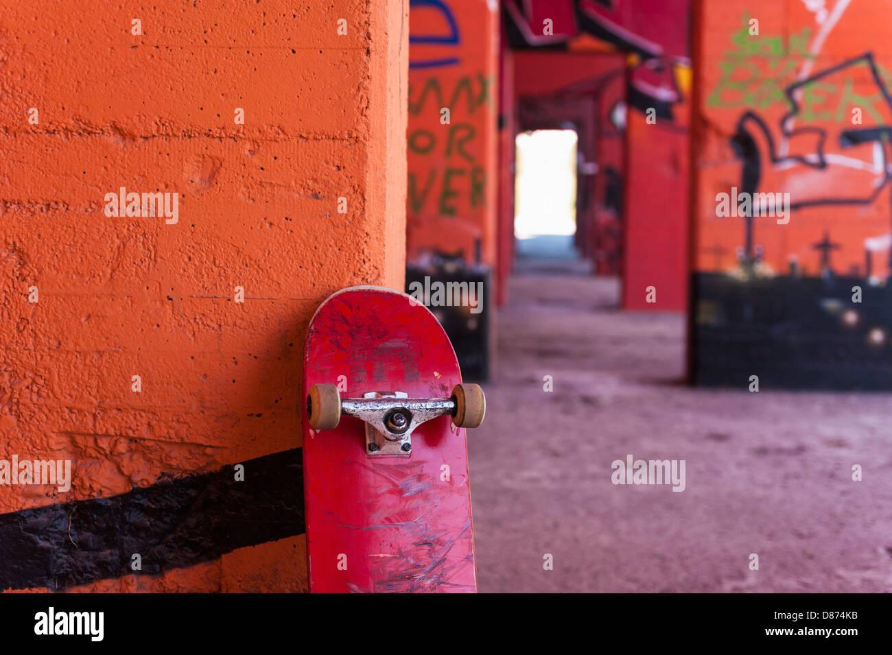 Graffiti Duisburg germany rhine westphalia duisburg skateboard against stock