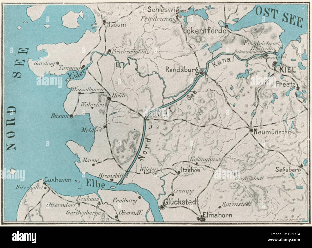 Kiel Canal Map Stock Photo Royalty Free Image 56752084 Alamy