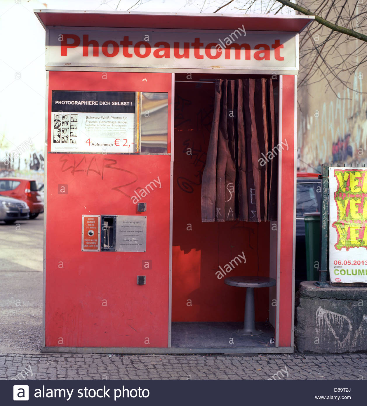 an old fashioned photo booth photoautomat on a street in berlin stock photo royalty free. Black Bedroom Furniture Sets. Home Design Ideas