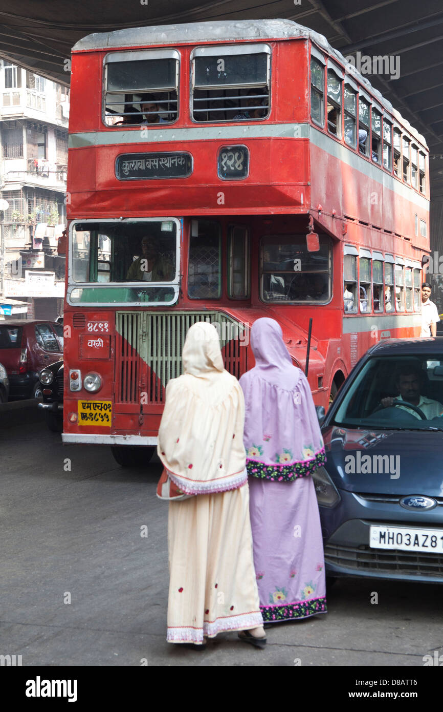 red double decker bus in mumbai  india stock photo