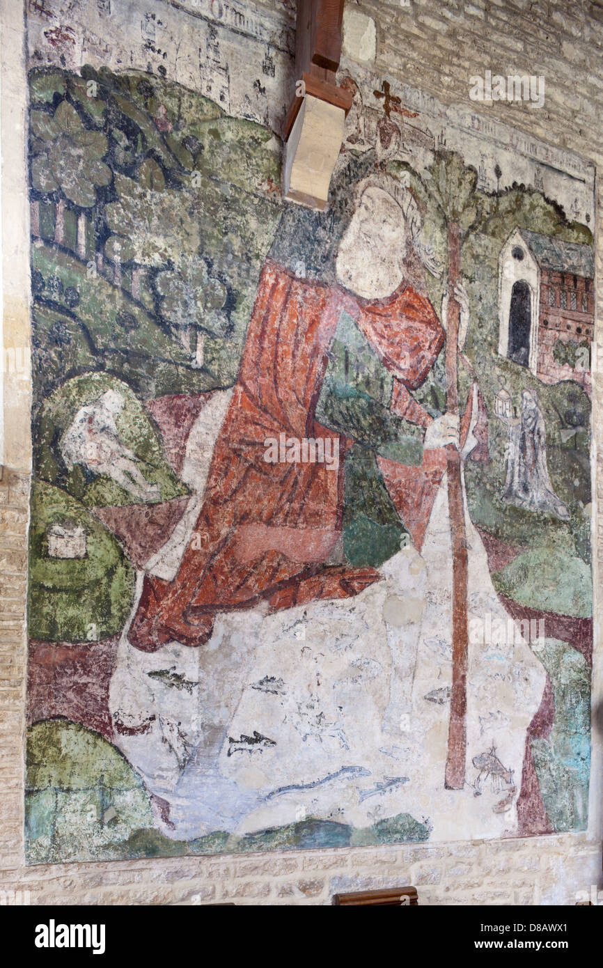 Church wall murals stock photos church wall murals stock images 14th century wall painting of st christopher in the church in the cotswold village of baunton amipublicfo Image collections