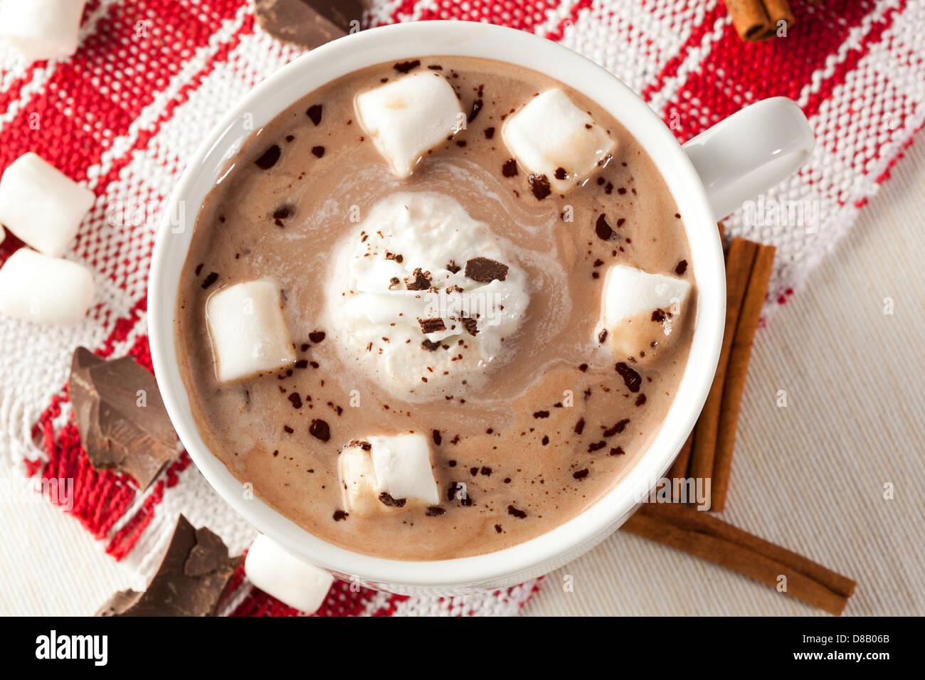 Gourmet Hot Chocolate with marshmallows and cinnamon Stock Photo ...