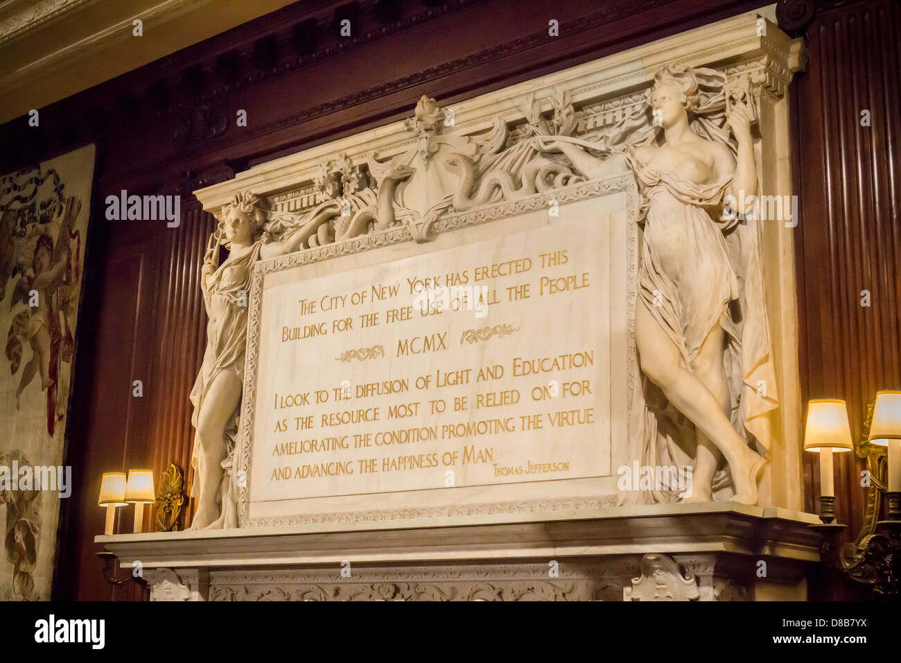 A quote from Thomas Jefferson adorns the mantelpiece of a ...